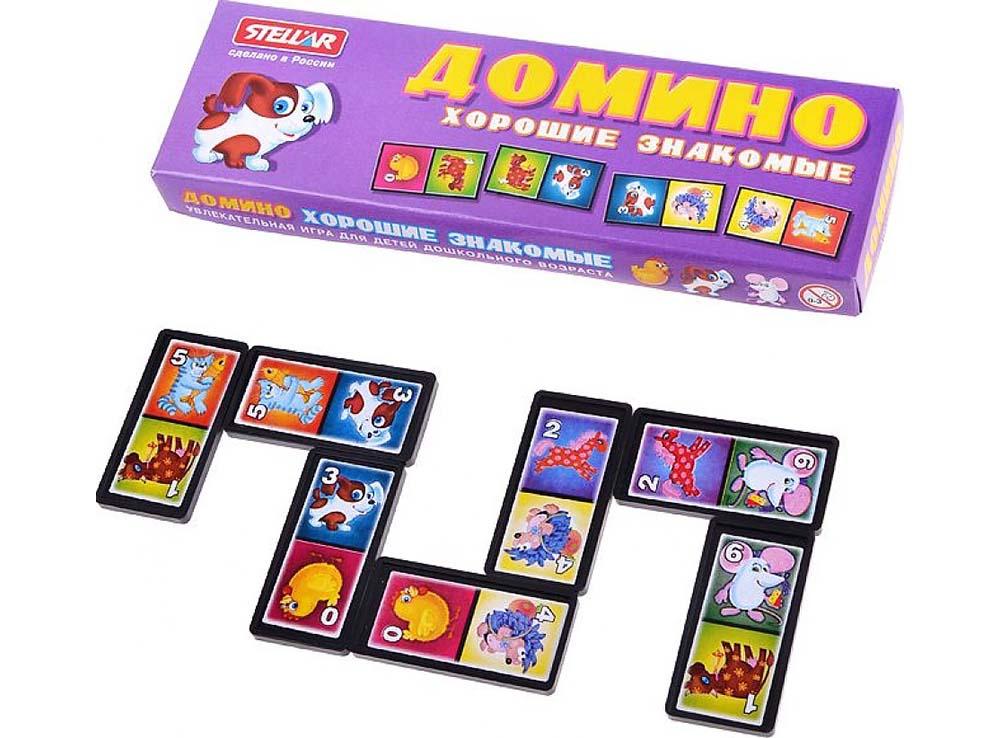 Коробка и компоненты настольной игры Домино Хорошие знакомые