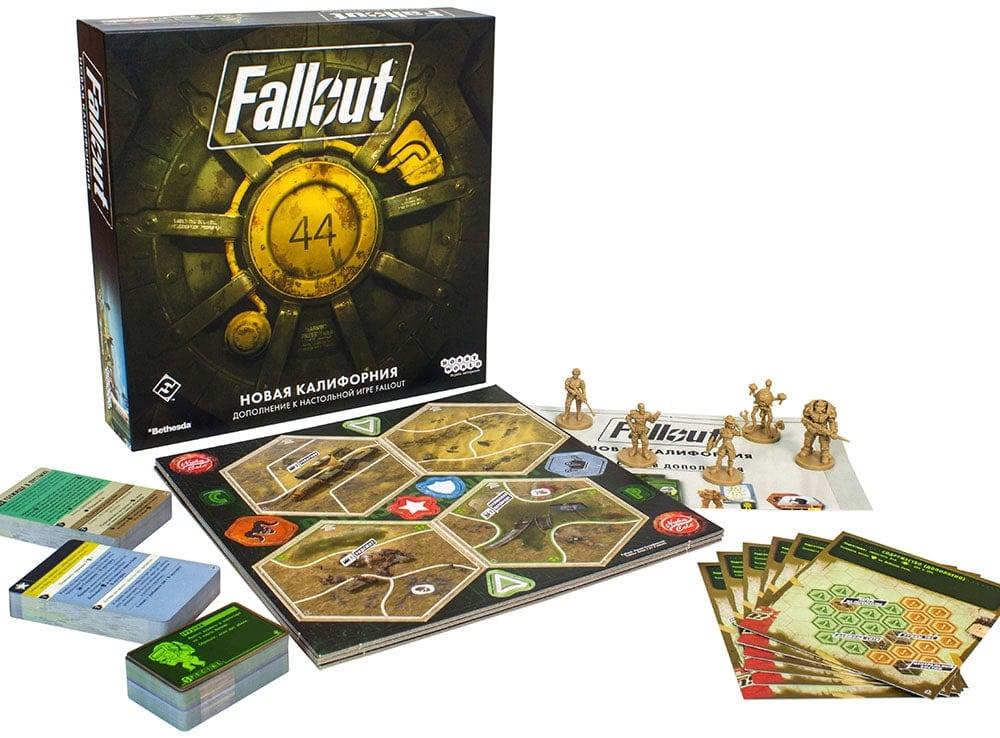 Коробка  и компоненты настольной игры Fallout: Новая Калифорния