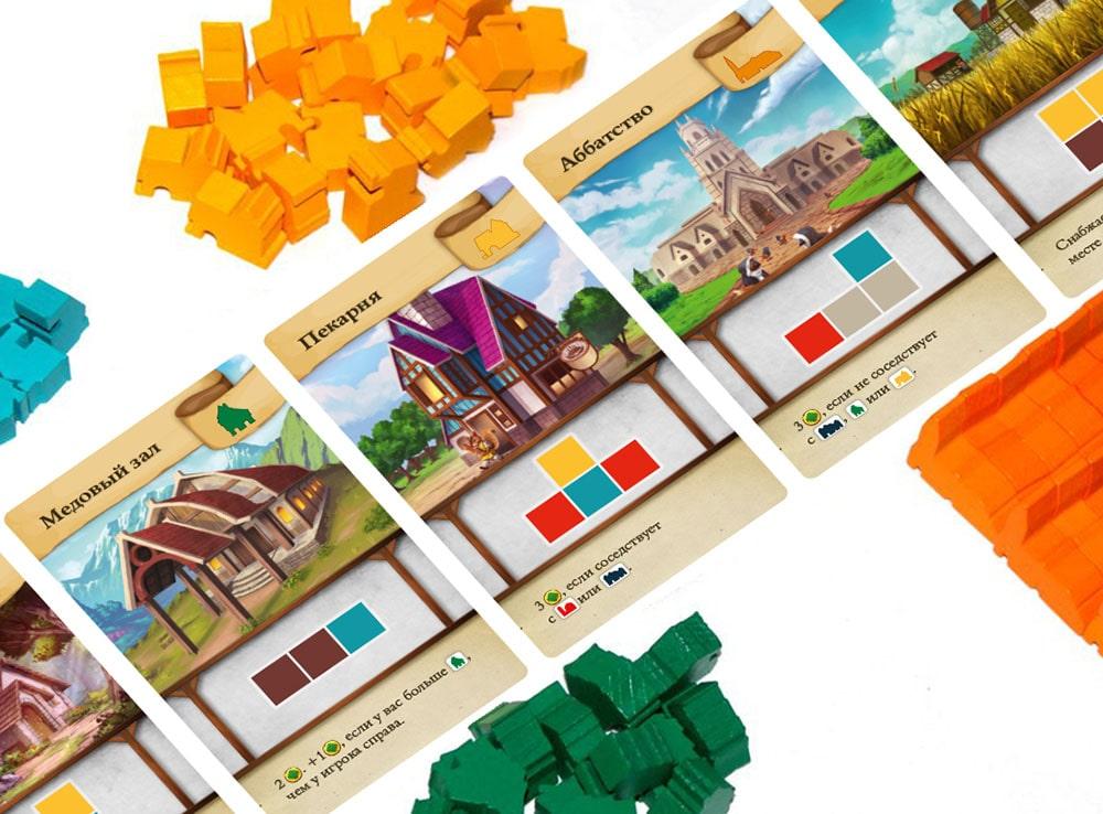 Компоненты настольной игры Крошечные города