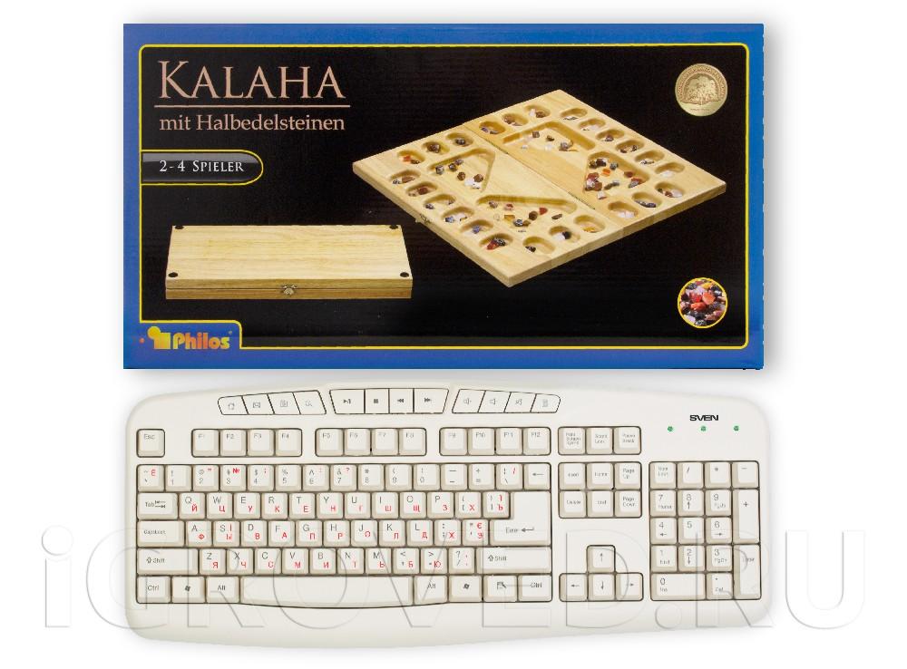 Коробка настольной игры Калах / Манкала для 2-4 игроков в сравнении с клавиатурой