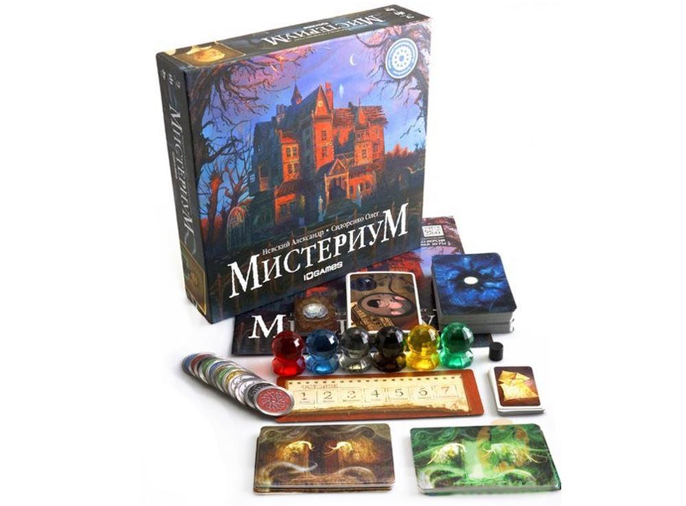 Коробка и компоненты настольной игры Мистериум (Mysterium)