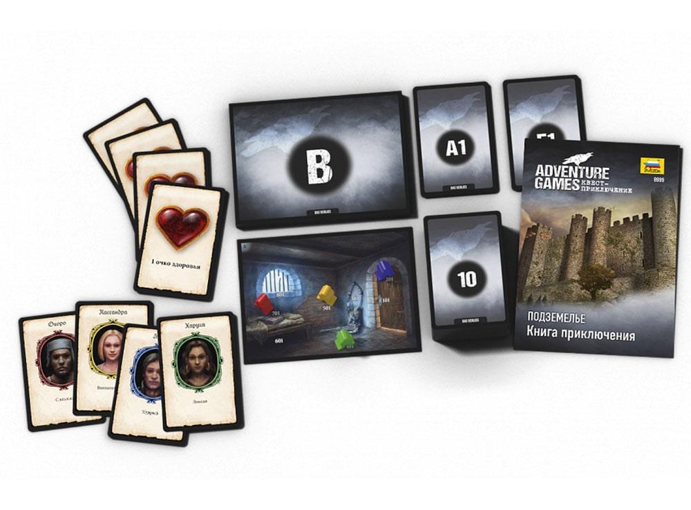 Коробка и компоненты настольной игры Подземелье
