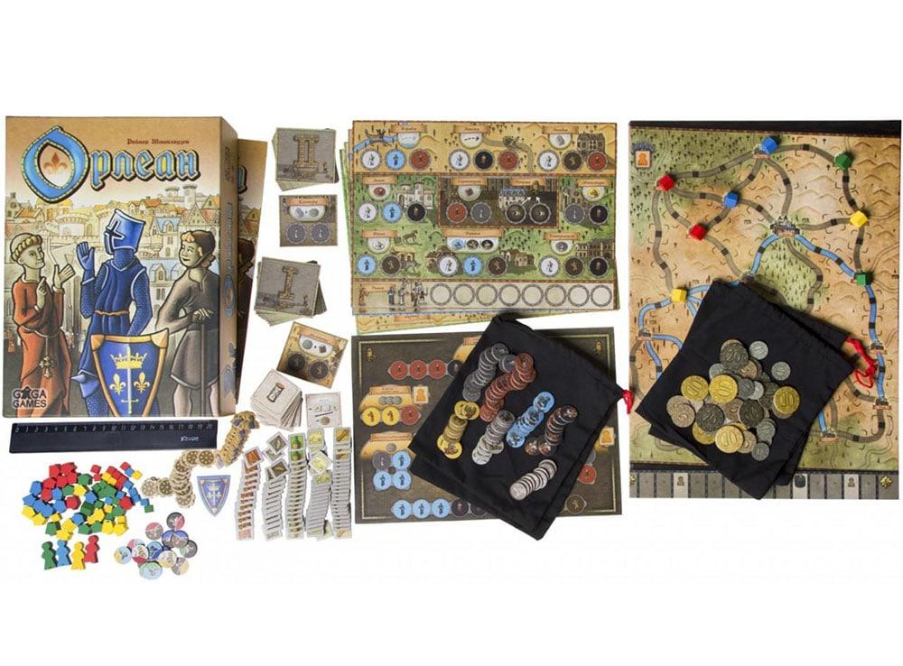 Коробка и компоненты настольной игры Орлеан