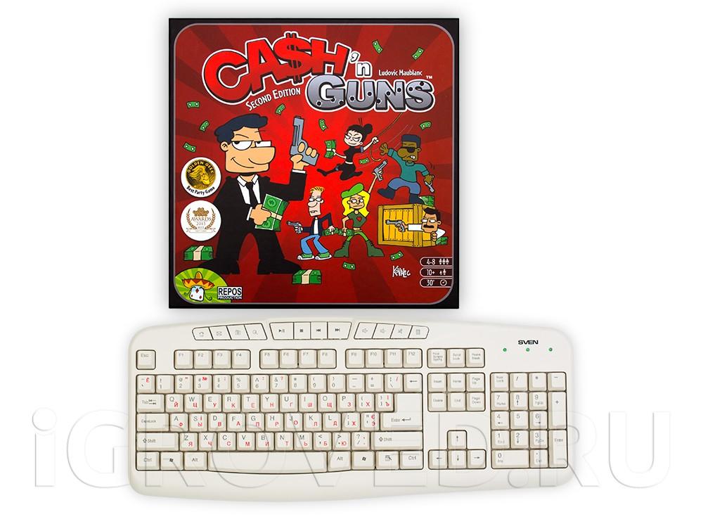Коробка настольной игры Гангстеры в сравнении с клавиатурой