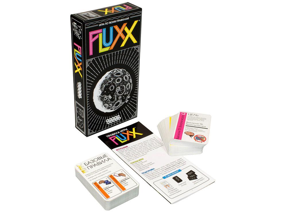 Коробка и компоненты настольной игры Fluxx