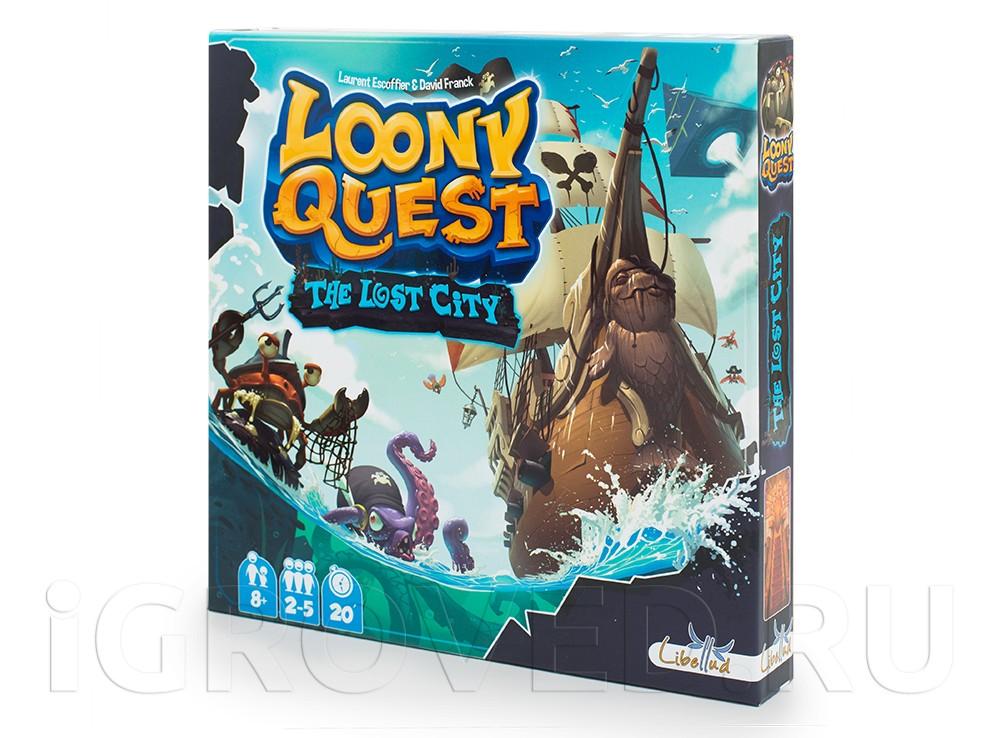 Коробка настольной игры Луни Квест: Затерянный город (Loony Quest: The Lost City, дополнение)