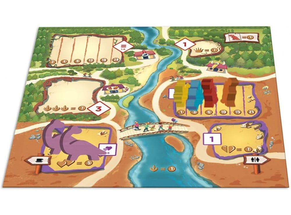 Коробка и компоненты настольной игры Драфтозавры
