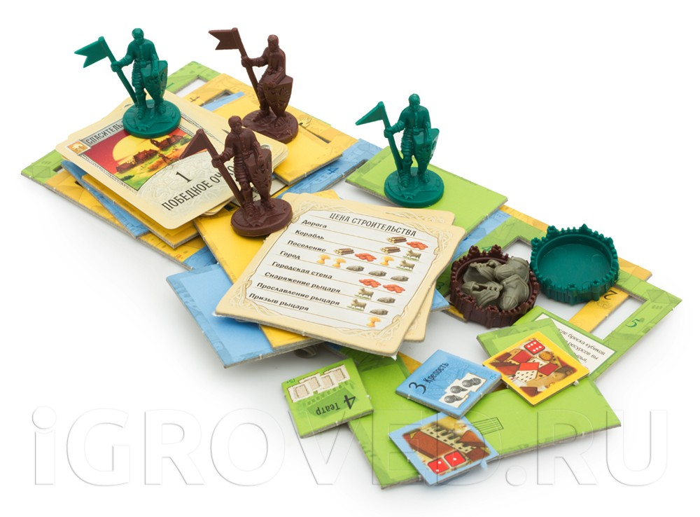 Компоненты настольной игры Колонизаторы: Города и рыцари для 5-6 игроков (дополнение)