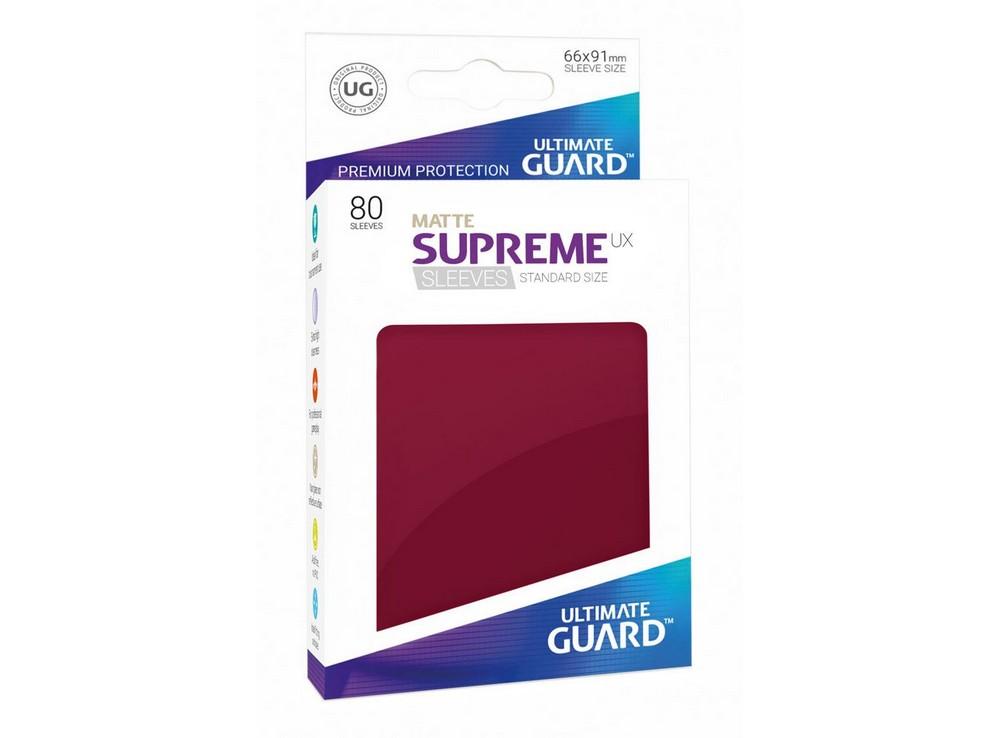 Протекторы Ultimate Guard, матовые тёмно-красные (Supreme UX Sleeves Standard Size Matte Burgundy)