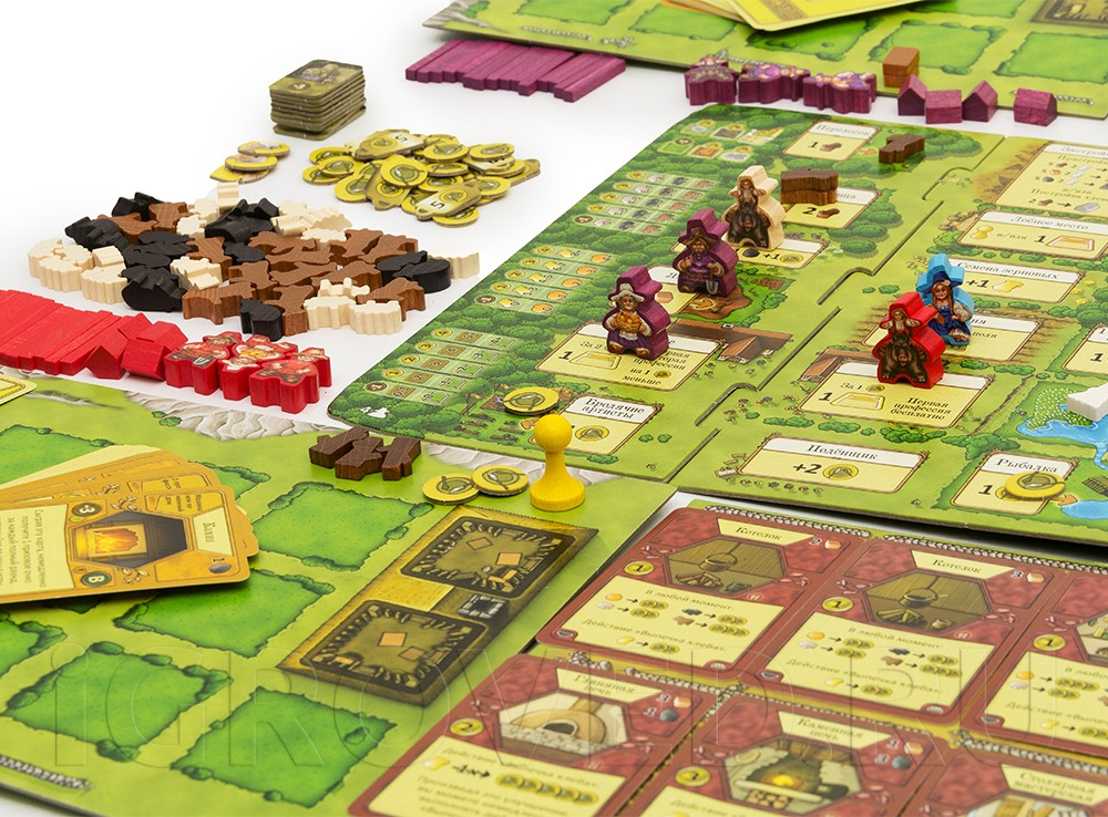 Множество деревянных компонентов: фигурки овец, свиней, коров. Настольная игра Агрикола