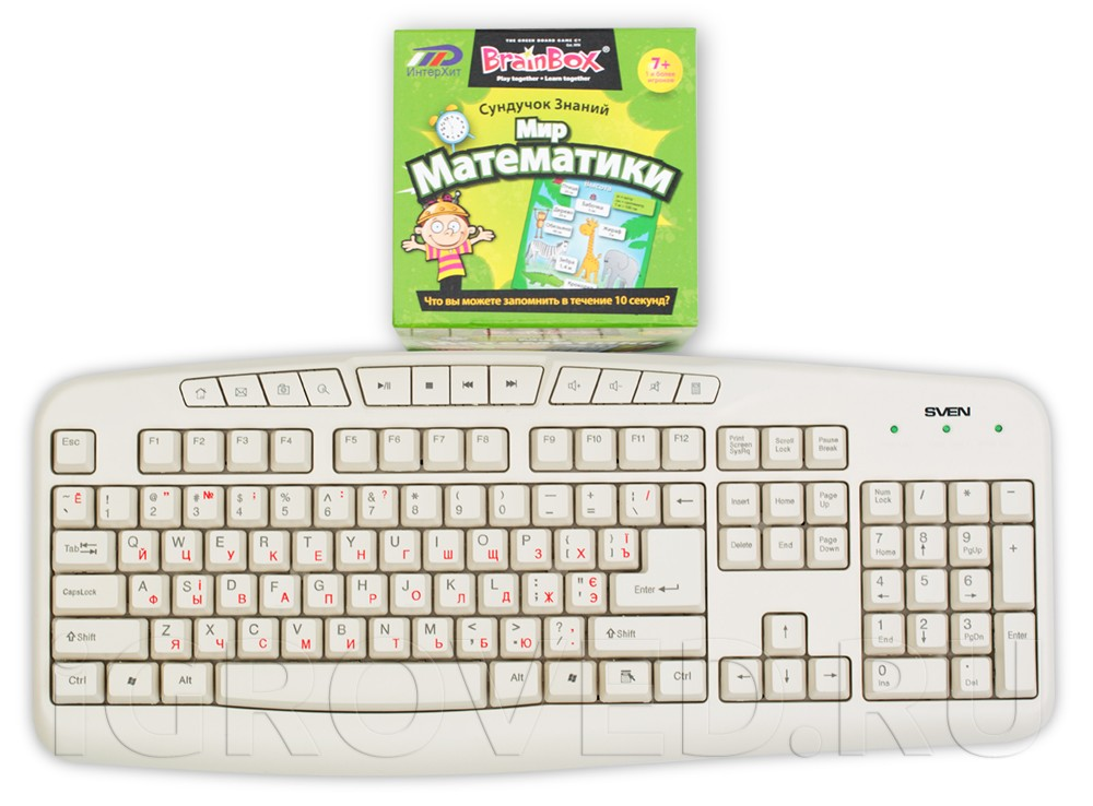 Коробка настольной игры Сундучок Знаний: Мир Математики в сравнении с клавиатурой