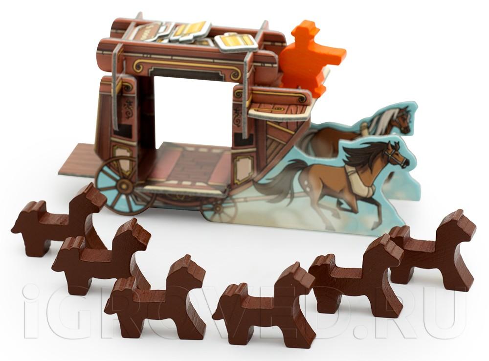 Компоненты настольной игры Кольт Экспресс: Лошади и Дилижанс (Colt Express: Horses and Stagecoach, дополнение)