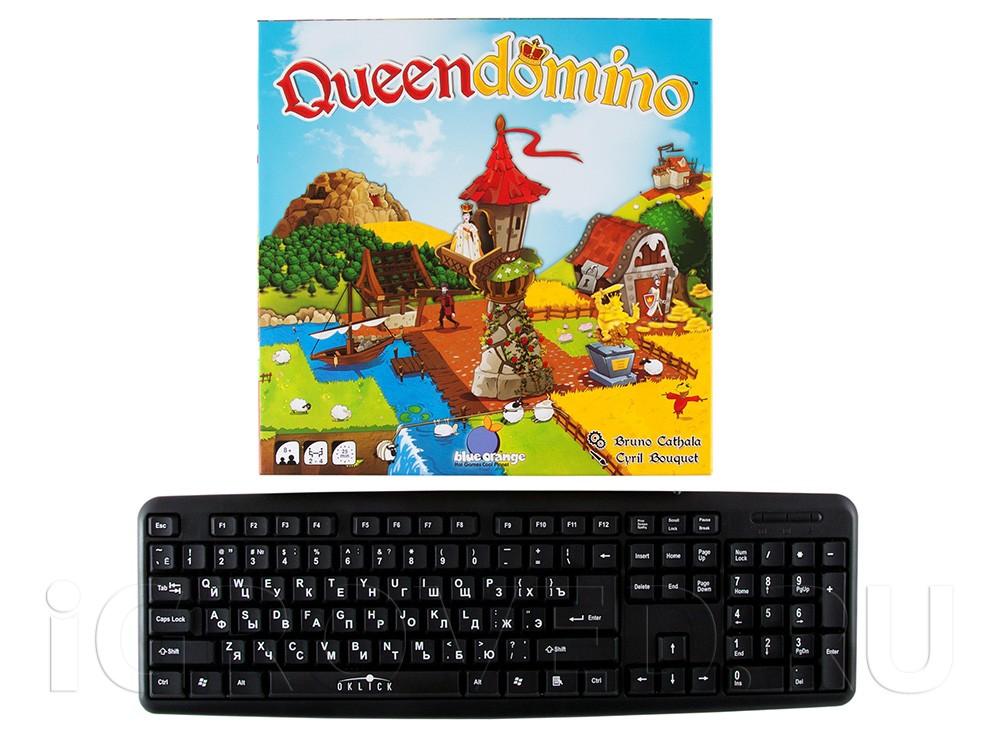 Коробка настольной игры Лоскутная империя (Queendomino) по сравнению с клавиатурой