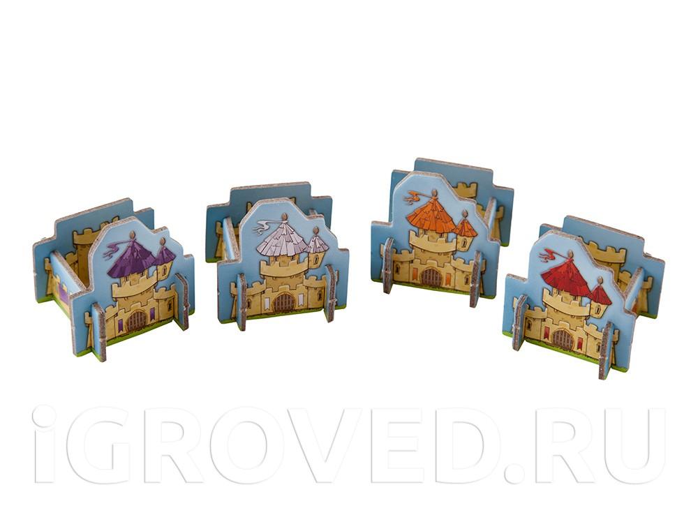 Замки четырех цветов для каждого из игроков. Настольная игра Лоскутная империя (Queendomino)