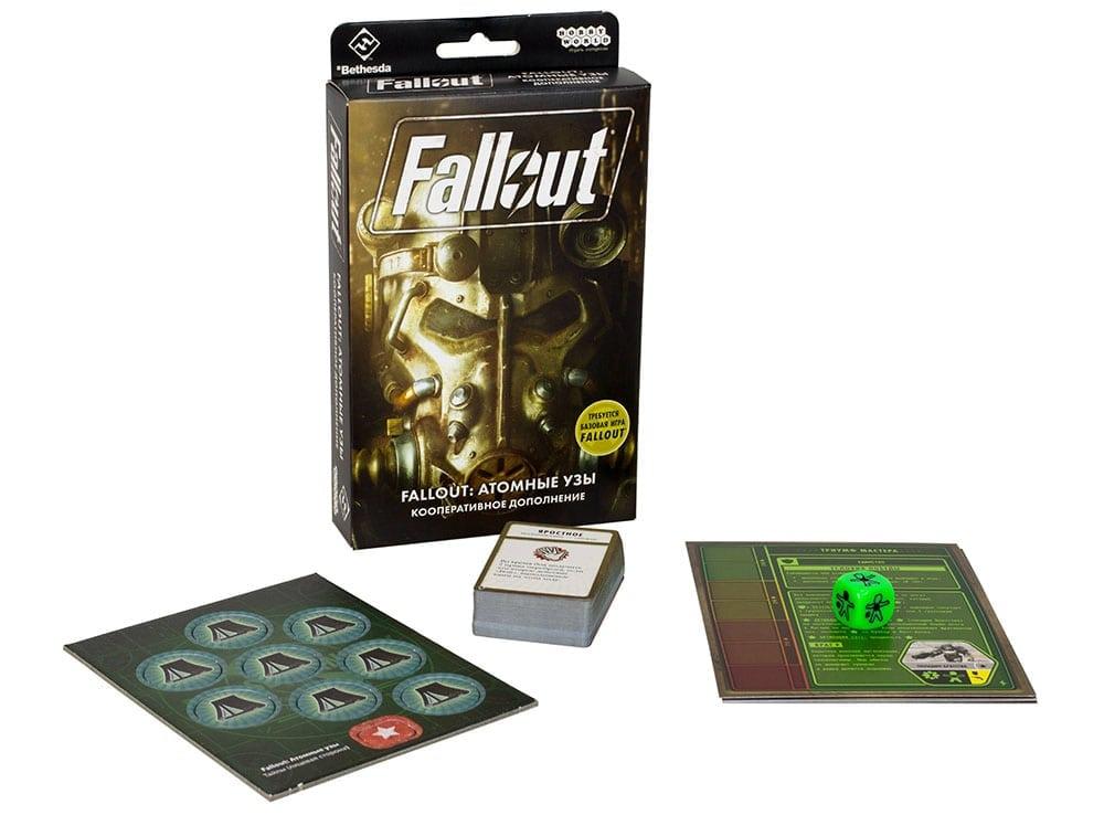 Коробка и компоненты настольной игры Fallout: Атомные узы