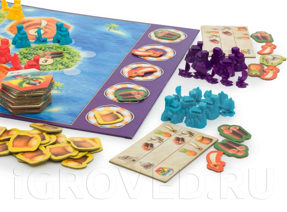В игре существует пять типов ресурсов: ананасы, сабли, шерсть, дерево и золото.  Настольная игра Колонизаторы Junior