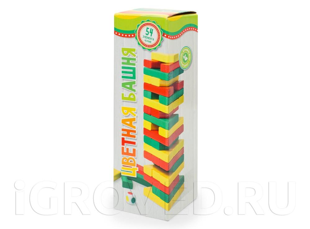 Игра Башня (с цветными брусками и кубиком, берёза)