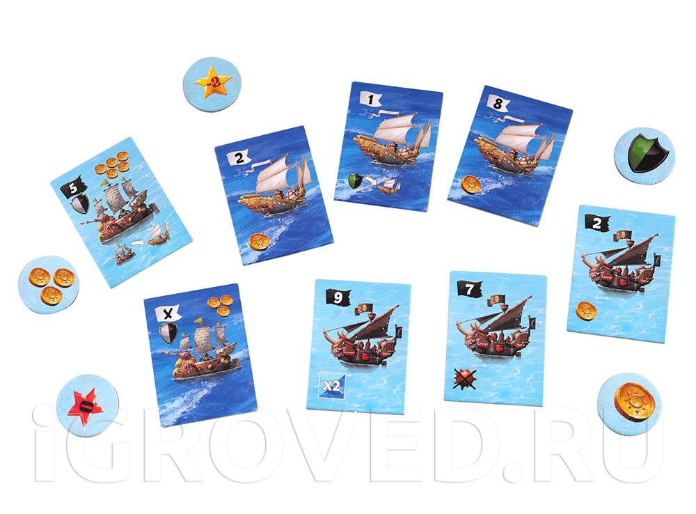 Компоненты настольной игры Повелители морей