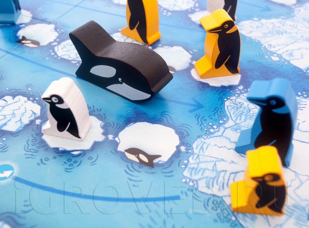 Фигурки пингвинов и косатки настольной игры Пинги Понго
