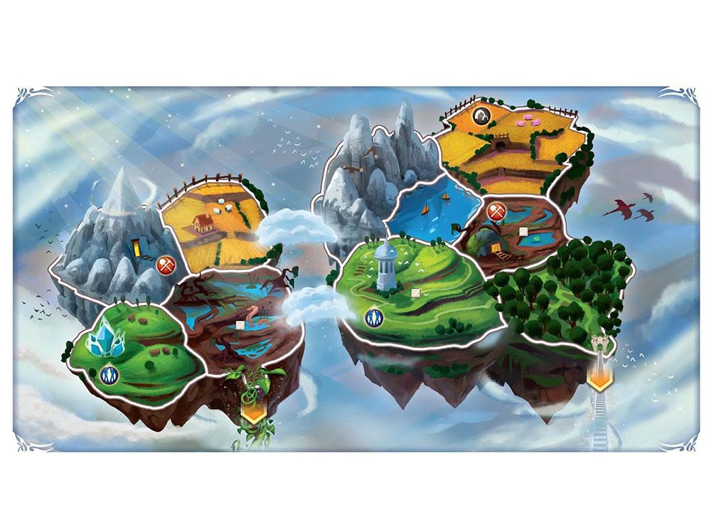Компоненты настольной игры Маленький Мир: Небесные острова (Small World: Sky Islands, дополнение)
