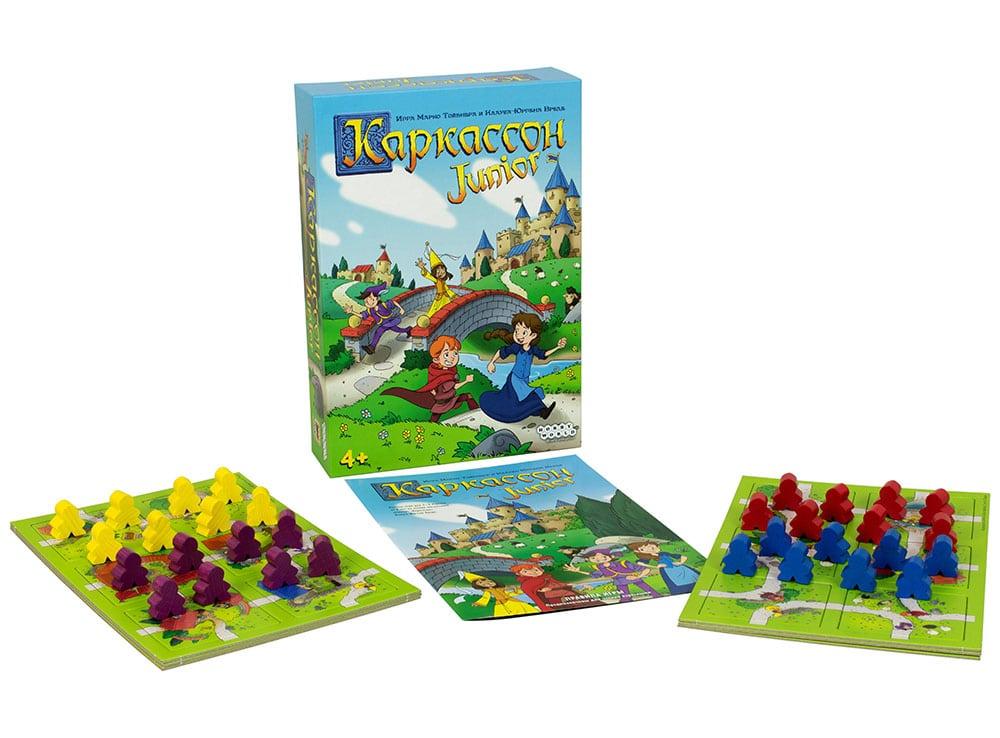 Коробка и компоненты настольной игры Каркассон Junior