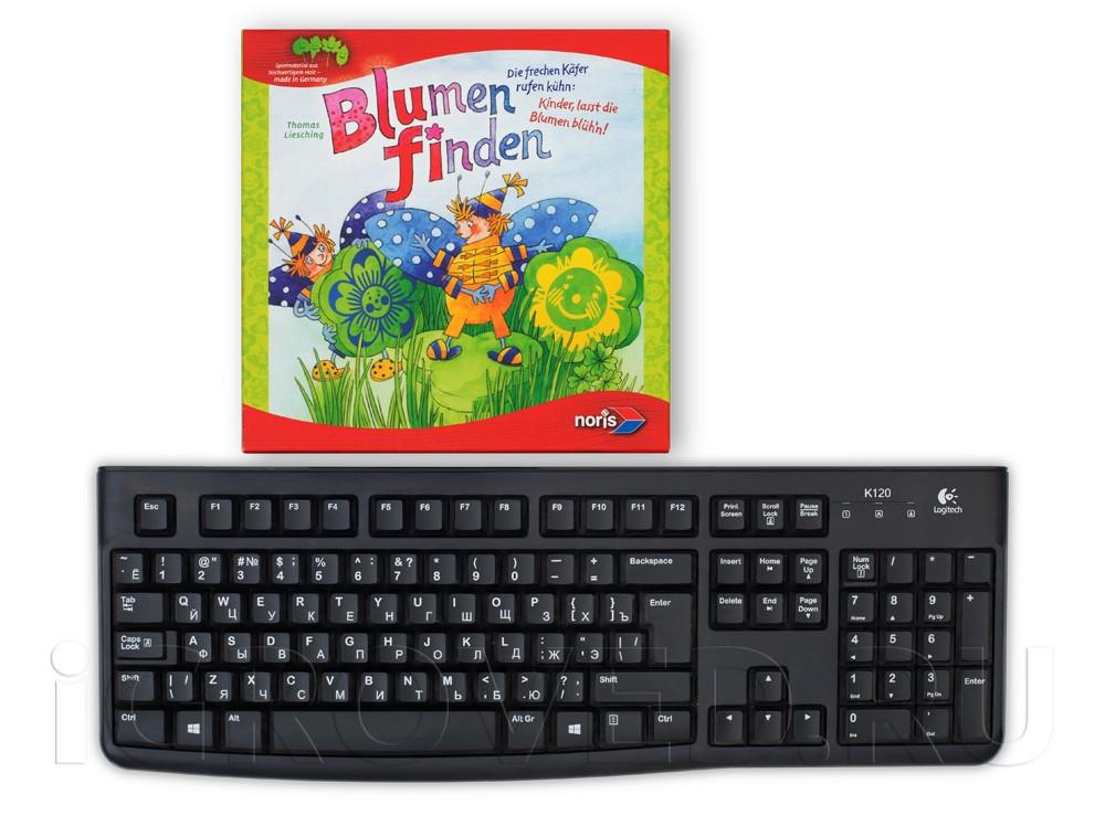 Коробка настольной игры Собери букет (Finding flowers) в сравнении с клавиатурой