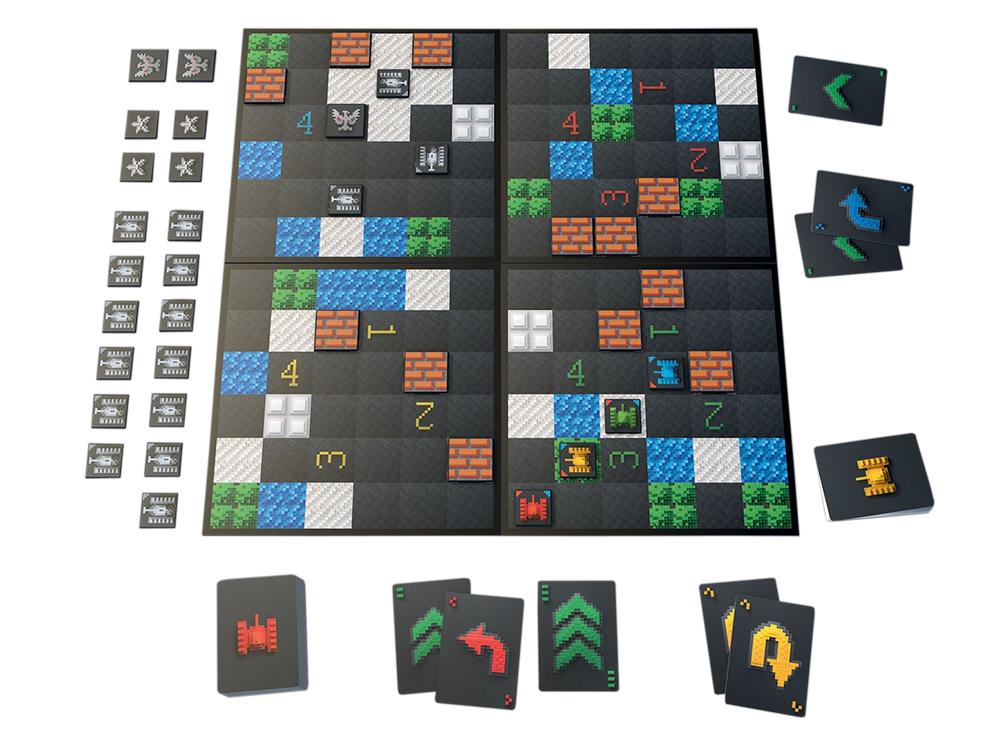 Игровое поле и компоненты настольной игры Танчики