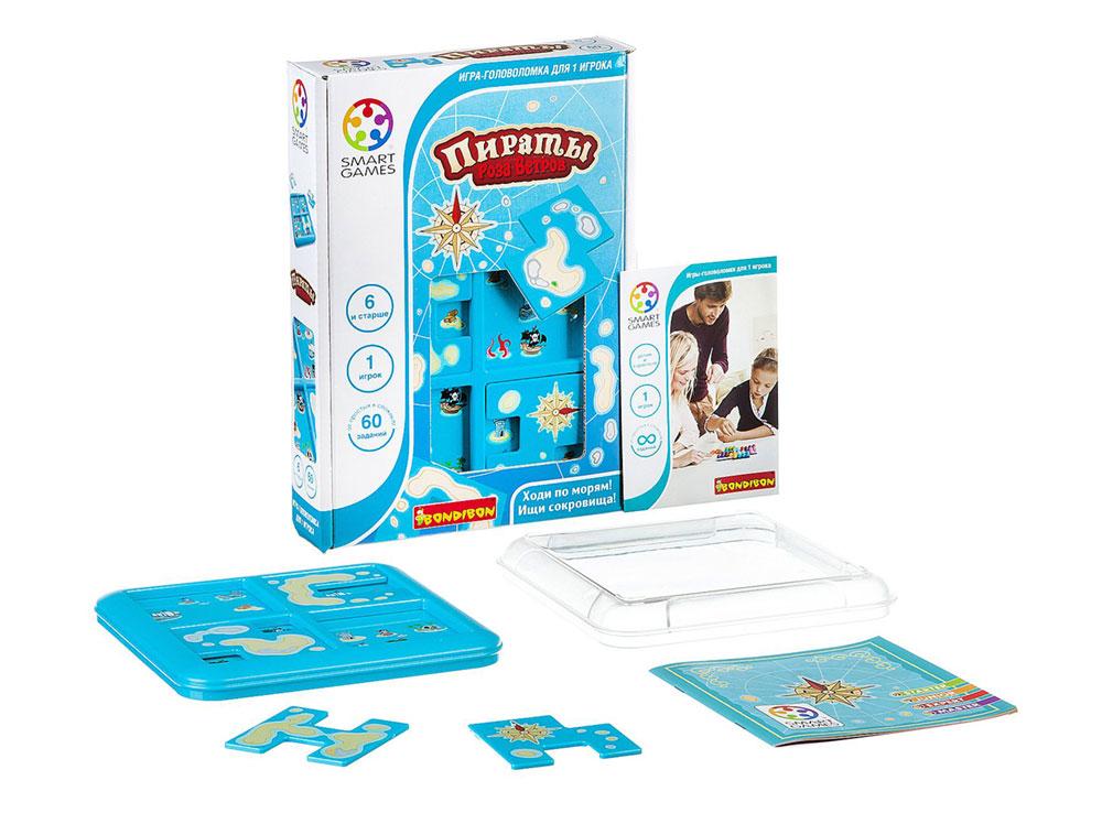 Коробка и компоненты настольной игры-головоломки Пираты. Роза ветров