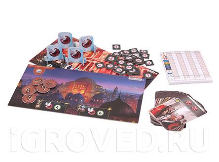 Компоненты настольной игры 7 чудес: Города (7 Wonders: Cities, дополнение)