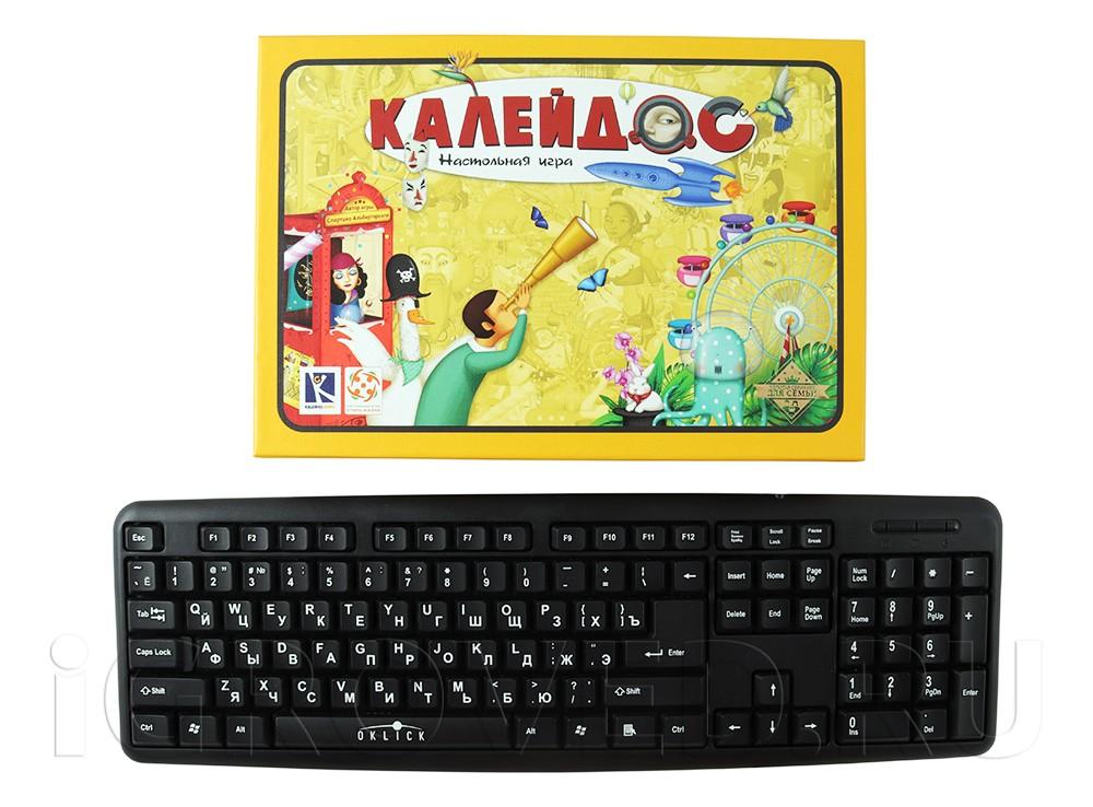Коробка настольной игры Калейдос в сравнении с клавиатурой