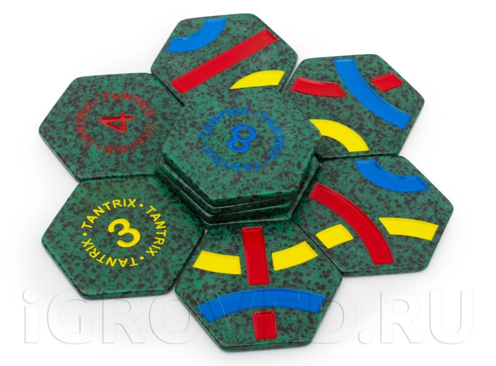 Компоненты настольной игры Тантрикс Открытие в зеленом сетчатом мешочке