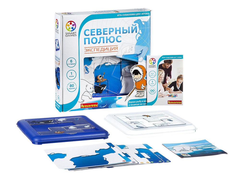 Коробка и компоненты настольной игры-головоломки Северный полюс. Экспедиция