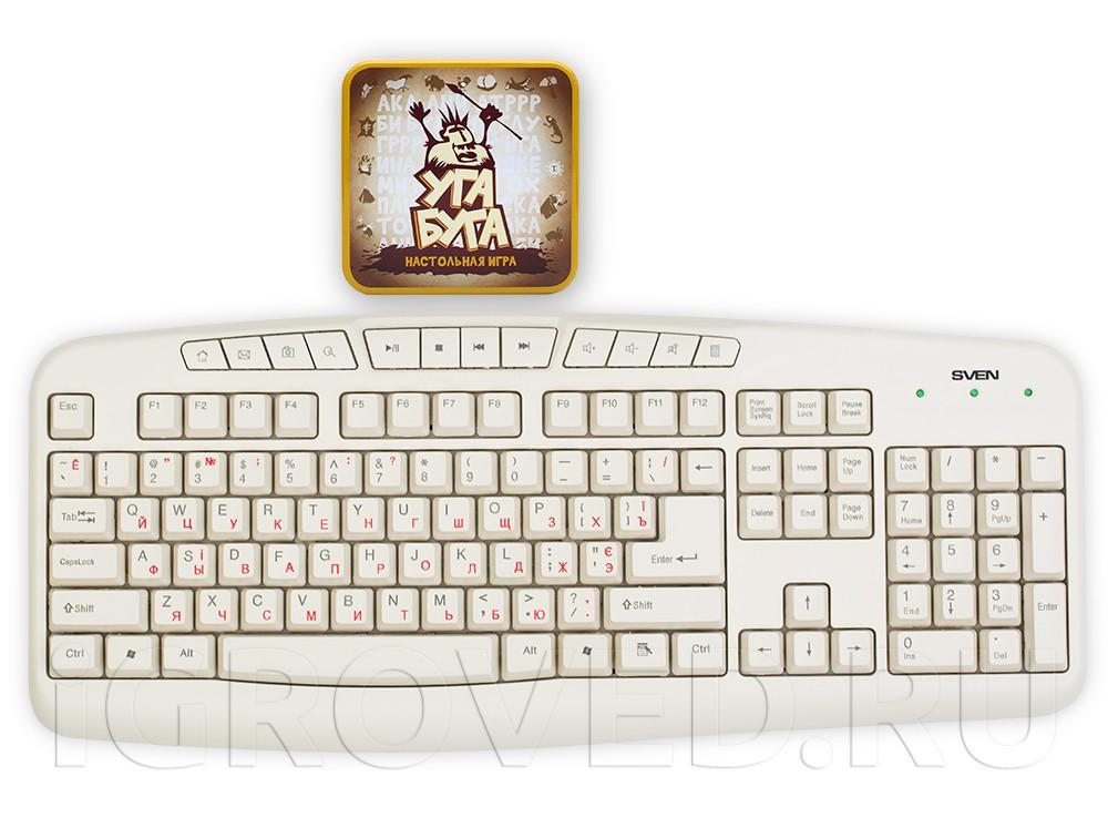 Коробка настольной игры Уга Буга (Ouga Bouga) в сравнении с клавиатурой