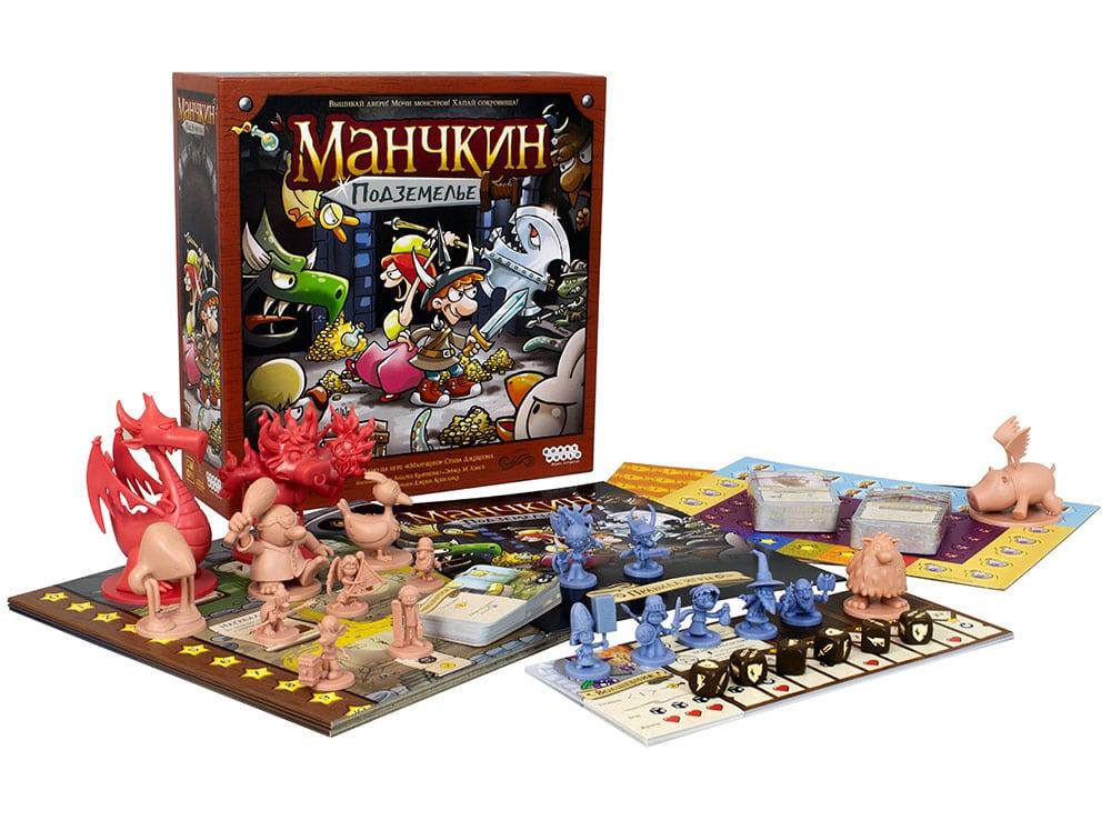 Коробка и компоненты настольной игры Манчкин Подземелье