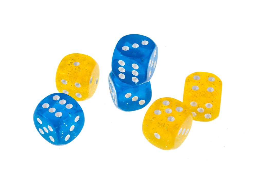 Кубик жёлтый d6 19мм