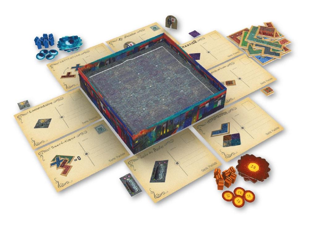 Игровое поле и компоненты настольной игры Париж. Город огней