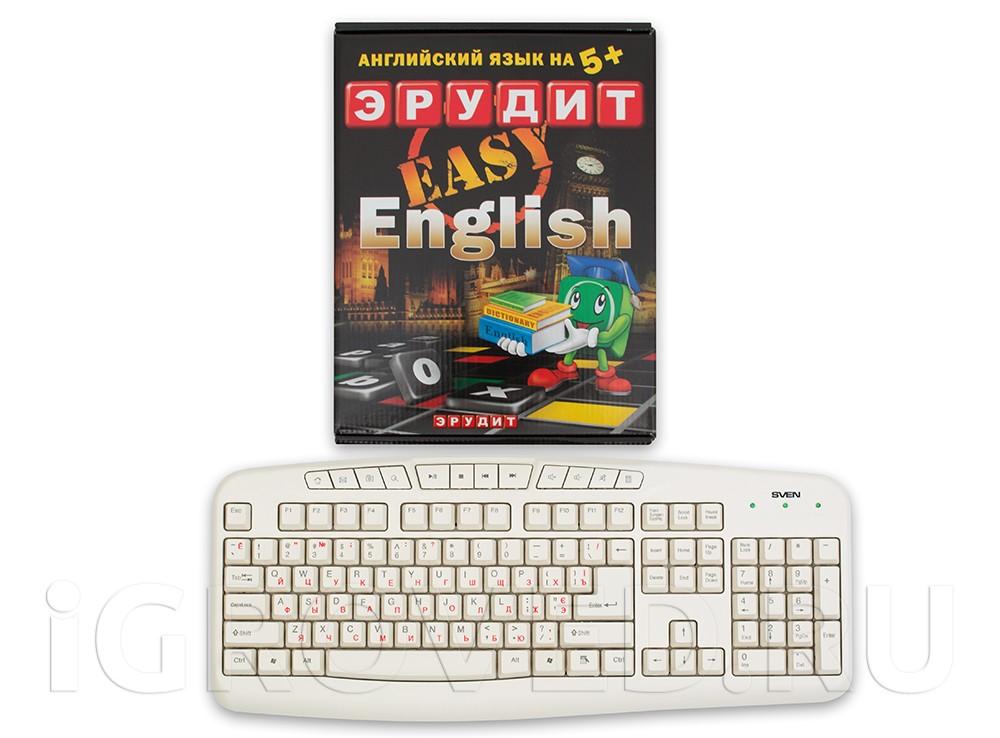Коробка настольной игры Эрудит Easy English в сравнении с клавиатурой
