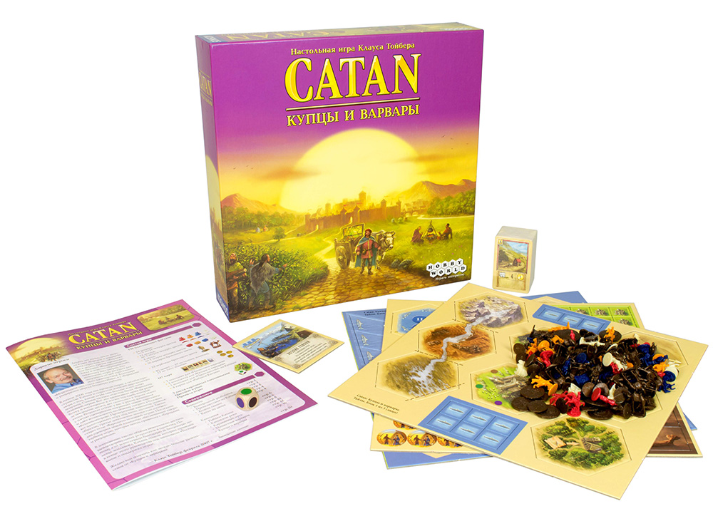 Все компоненты настольной игры Колонизаторы: Купцы и Варвары (дополнение)