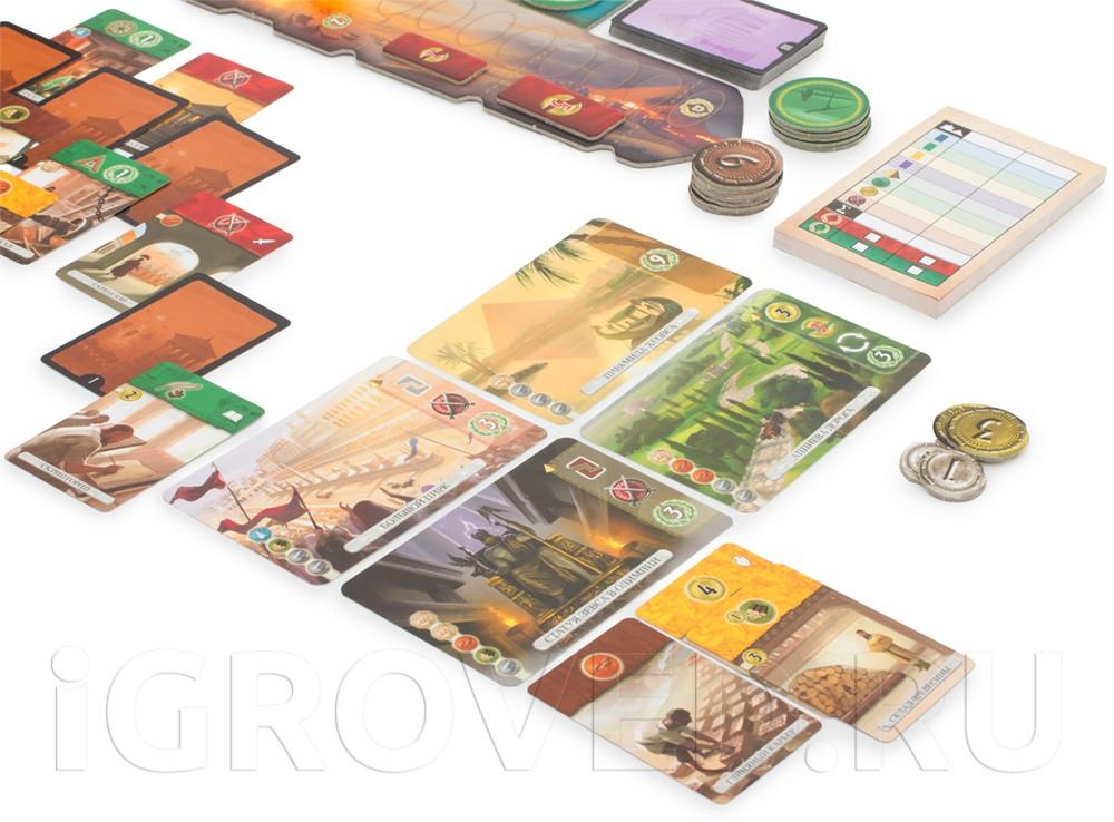 Разыгрывайте карты построек и чудес света, в течение трёх эпох. Настольная игра 7 Чудес Дуэль (7 Wonders Duel)