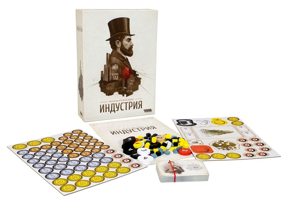 Коробка и компоненты настольной игры Индустрия