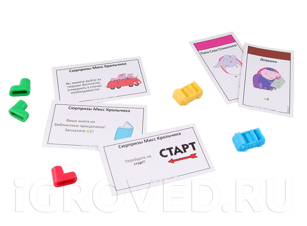 Компоненты настольной игры Монополия: Свинка Пеппа