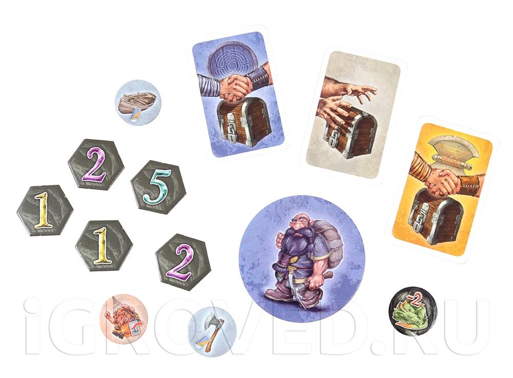 Компоненты настольной игры Гномы-вредители. Древние шахты