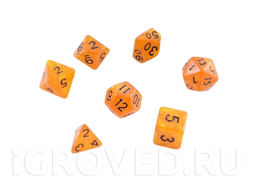 Набор кубиков STUFF PRO для ролевых игр под мрамор. Светло-коричневые