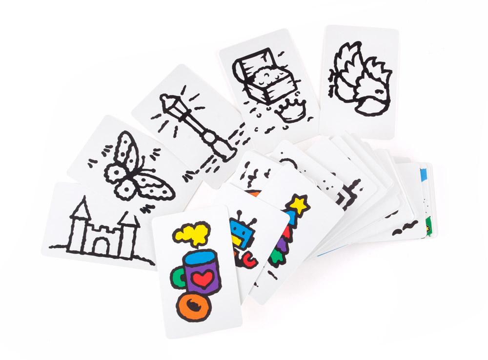 Двусторонние карточки с изображениями. Настольная игра Скоростные цвета