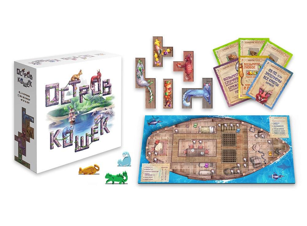 Коробка и компоненты настольной игры Остров кошек