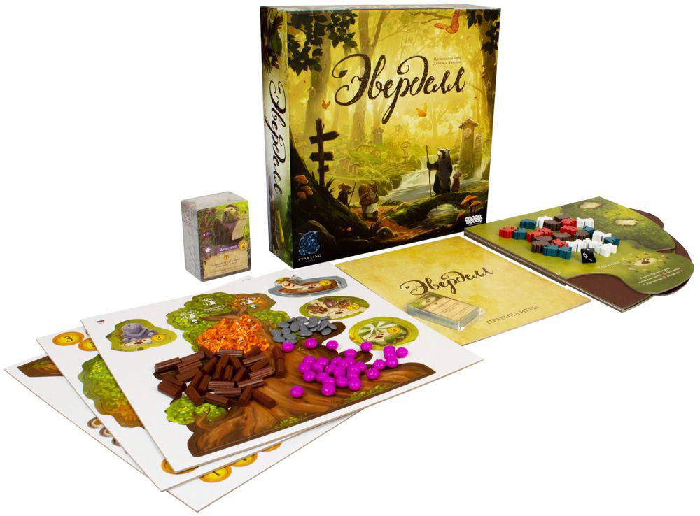Коробка и компоненты настольной игры Эверделл