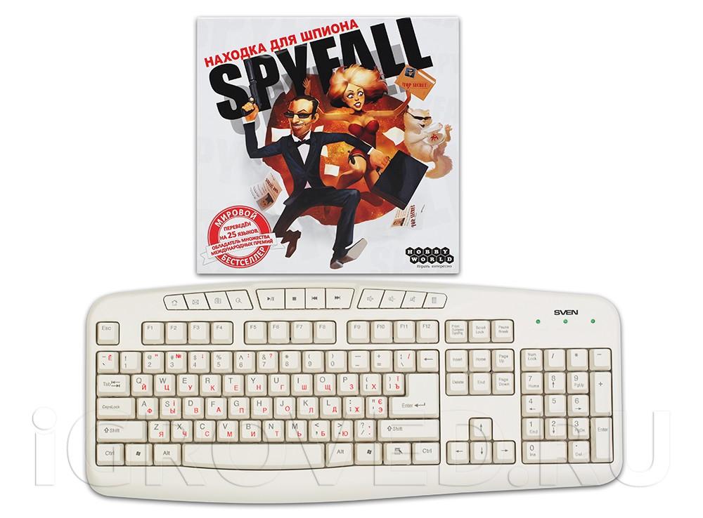 Коробка настольной игры Находка для шпиона в сравнении с клавиатурой