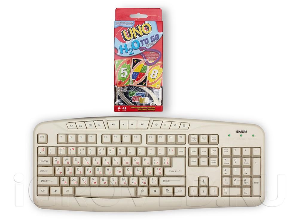 Коробка настольной игры Уно H2O (Uno H2O) в сравнении с клавиатурой