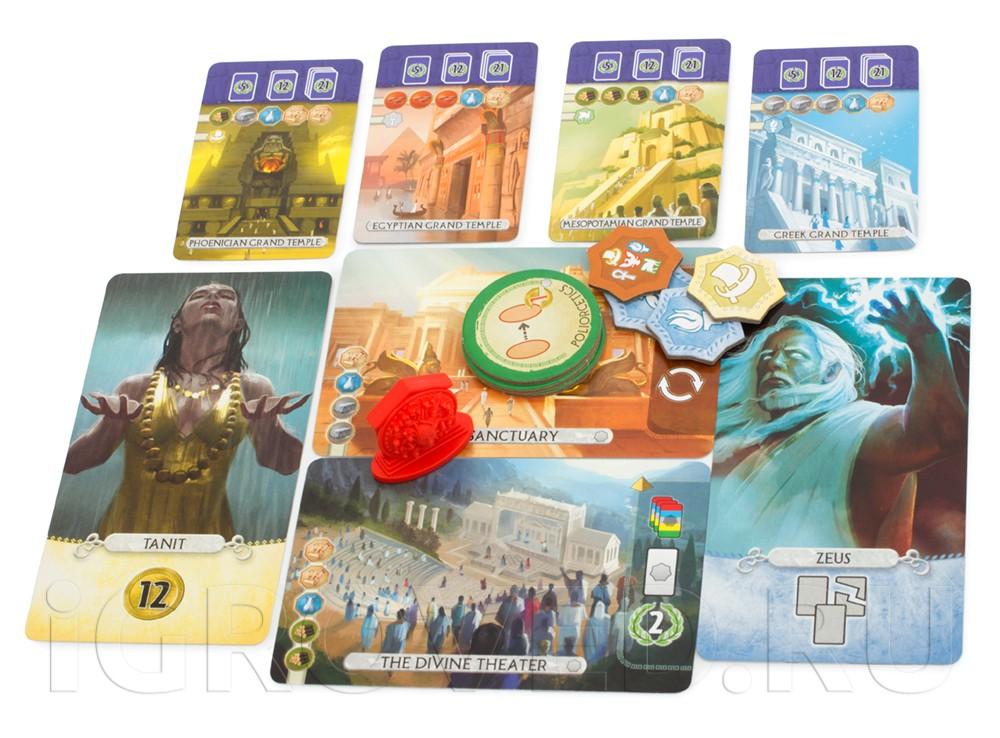 В дополнении 7 Чудес Дуэль: Пантеон (7 Wonders Duel: Pantheon) вас ждут боги 5 различных мифологий
