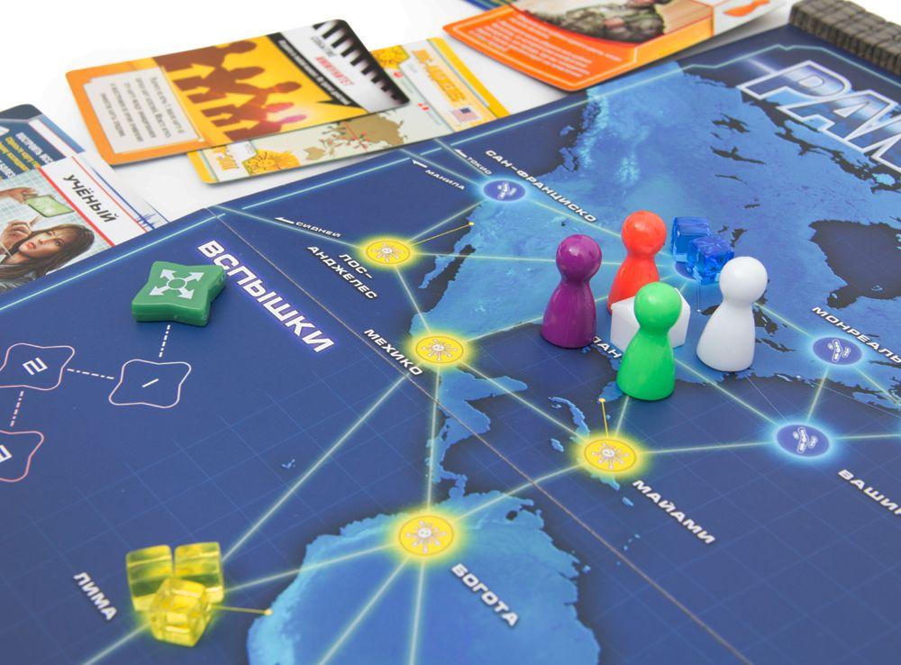 Игроки путешествуют по карте, пытаясь вылечить болезнь и изобрести лекарства. Настольная игра Пандемия